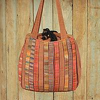 Cotton shoulder bag Oriental Brown Thailand