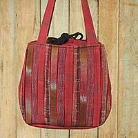 Cotton shoulder bag Orient Red Thailand