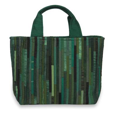 Hand Woven Silk Hill Tribe Tote Bag in Green