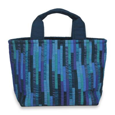 Hand Woven Silk Hill Tribe Tote Bag in Shades of Blue