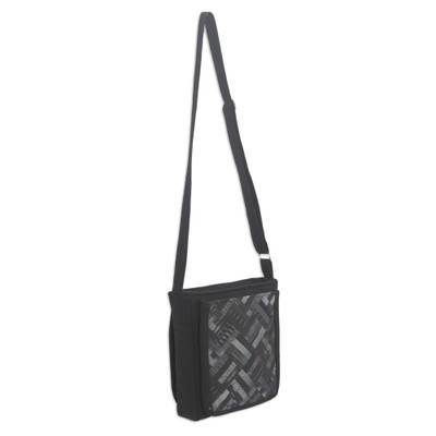 Cotton shoulder bag, 'Black Siam' - Black Cotton Thai Applique Shoulder Bag with 3 Pockets