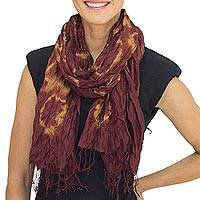 Silk scarf, 'Cinnamon Dance' - Brown Tie-dye 100% Silk Scarf Crafted by Hand in Thailand