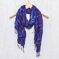 Silk scarf, 'Indigo Dance' - Blue Purple Tie-dye Silk Scarf Crafted by Hand in Thailand