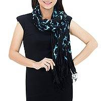 Silk scarf, 'Licorice Dance' - Black Blue Tie-dye Silk Scarf Crafted by Hand in Thailand