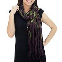 Silk scarf, 'Aubergine Dance' - Green Purple Tie-dye Silk Scarf Crafted by Hand in Thailand