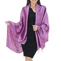 Rayon and silk blend shawl, 'Mandarin Plum' - Plum Floral Damask Shawl in Rayon and Silk Blend