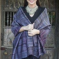 Silk and cotton blend batik shawl, 'Romance in Gray' - Handmade Silk and Cotton Batik Shawl in Blue-Gray Stripe