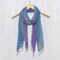 Silk scarves, 'Cool Stream' (pair) - Handmade Blue and Purple  Open Weave Silk Scarves