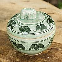 Celadon ceramic box, 'Elephants on Parade' - Green Celadon Ceramic Jewelry Box with Elephant Motif