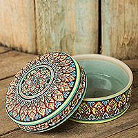 Celadon ceramic jewelry box, 'Thai Royale' - Intricately Painted Round Ceramic Jewelry Box with Lid