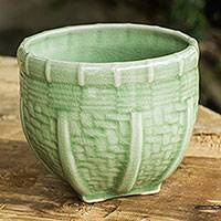 Celadon ceramic vase, 'Basket' (medium) - Handmade Green Ceramic Vase with Basket Motif (Medium)
