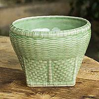 Celadon ceramic vase, 'Basket' (large) - Woven Look Ceramic Vase in Green Celadon Glaze (Large)