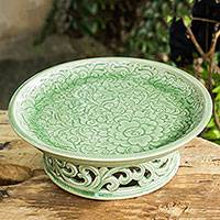 Celadon ceramic serving tray, 'Khan Toke' - Green Floral Celadon Ceramic Serving Tray on Pedestal