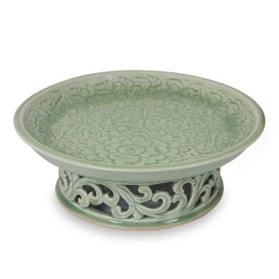 Green Floral Celadon Ceramic Serving Tray on Pedestal
