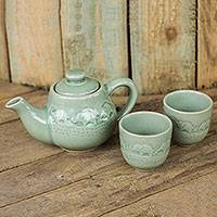 Celadon ceramic tea set, 'Elephant Family' (set for 2) - Light Green Ceramic Tea Set with Elephants (Set for 2)