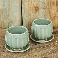 Celadon ceramic teacups and saucers, 'Thai Jade' (pair) - Fair Trade Thai Celadon Ceramic Teacups and Saucers (pair)