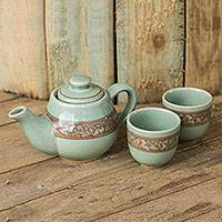 Celadon ceramic tea set, 'Lanna Enchanted' (set for 2) - Artisan Crafted Green and Brown Celadon Tea Set (Set for 2)