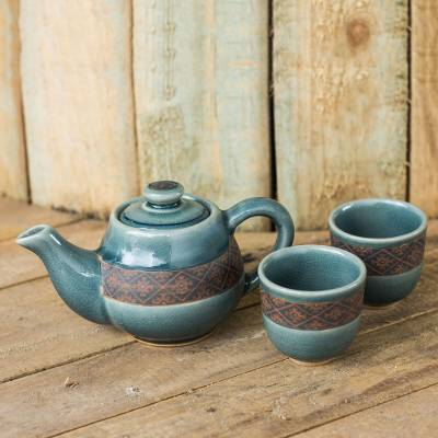 Celadon ceramic tea set, 'Thai Weave Inspiration' (set for 2) - Blue Celadon Tea Set Handmade in Thailand (Set for 2)