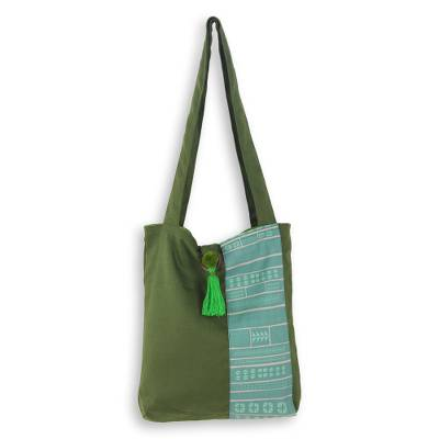 Cotton Shoulder Bag in Greens from Thailand