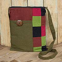 Cotton shoulder bag, 'Lanna Rhythm in Olive' - Cotton Patchwork Shoulder Bag Handmade in Thailand