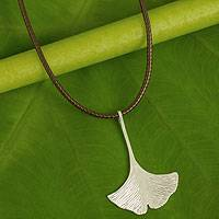 Sterling silver pendant necklace, 'The Gingko' - Handmade Brushed Silver Gingko Leaf Pendant Necklace