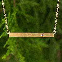 Gold vermeil tourmaline bar necklace, 'Simple Kindness' - Pink Tourmaline on Gold Vermeil Bar Necklace from Thailand