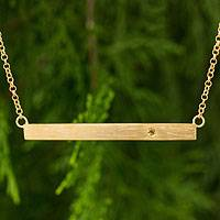 Gold vermeil citrine bar necklace, 'Simple Abundance' - 24k Gold Vermeil and Citrine Modern Bar Necklace