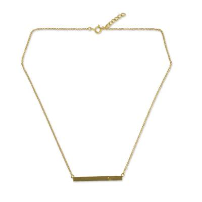 24k Gold Vermeil and Citrine Modern Bar Necklace