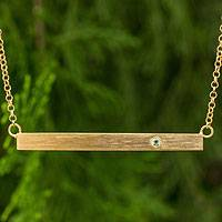 Gold vermeil peridot bar necklace, 'Simple Clarity' - Handmade Gold Vermeil Bar Necklace with Peridot