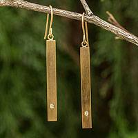 Gold vermeil peridot bar earrings, 'Simple Clarity' - Peridot Earrings set in 24k Gold Plated Sterling Silver