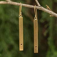 Gold vermeil garnet bar earrings, Simple Compassion