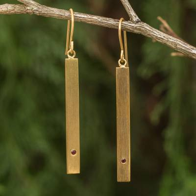 Gold vermeil garnet bar earrings, 'Simple Compassion' - Brushed Satin 24k Gold Plated Silver Earrings with Garnets