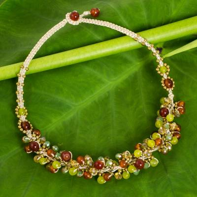 Carnelian beaded necklace, 'Honeydew Cattlelaya' - Artisan Hand Knotted Gemstone Beaded Necklace from Thailand