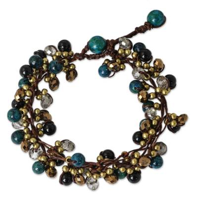 Hand Knotted Beaded Bracelet with Serpentine and Onyx