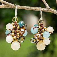 Beaded earrings, 'Azure Cattlelaya' - Yellow and Blue Quartz Beaded Earrings Knotted by Hand