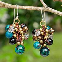 Beaded earrings, 'Verdant Cattlelaya' - Hand Knotted Beaded Earrings with Serpentine and Onyx