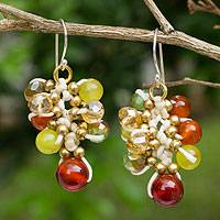 Carnelian beaded earrings, 'Honeydew Cattlelaya' - Artisan Hand Knotted Carnelian Gemstone Beaded Earrings