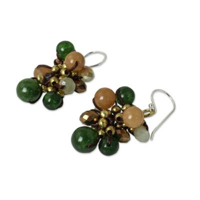 Beaded earrings, 'Tropical Cattlelaya' - Artisan Hand Knotted Green Yellow Beaded Cluster Earrings