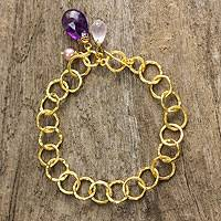 Gold plated gemstone link bracelet, 'Treasure' - Gold Plated Cultured Pearl Amethyst Rose Quartz Bracelet