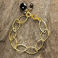 Gold plated cultured pearl gemstone link bracelet, 'Treasure' - Thai Gold Plated Cultured Pearl Onyx Smoky Quartz Bracelet