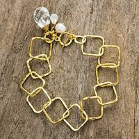 Gold plated multigem link bracelet, 'Treasure' - Gold Plated Cultured Pearl Moonstone Quartz Bracelet