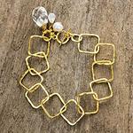 Gold Plated Cultured Pearl Moonstone Quartz Bracelet, 'Treasure'