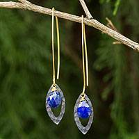 Gold vermeil lapis lazuli dangle earrings, 'Sublime' - Lapis Lazuli Gold Vermeil and Sterling Silver Leaf Earrings