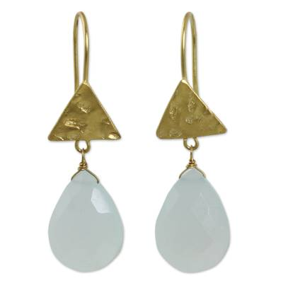 Blue Chalcedony Handmade Gold Plated Earrings