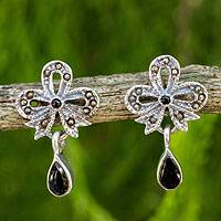 Onyx and marcasite dangle earrings, 'Enchanted Bows' - Onyx Vintage Earrings with Sterling Silver and Marcasite