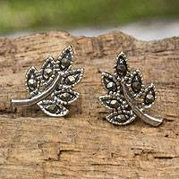 Sterling silver and marcasite stud earrings, 'Petite Leaves'