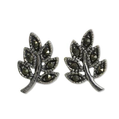 Leaf Stud Earrings Crafted of Sterling Silver and Marcasite