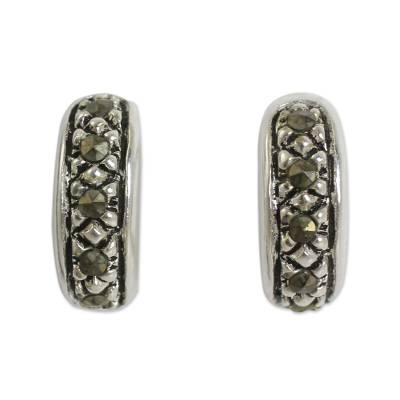 Sterling Silver Half Hoop Earrings Crafted with Marcasite