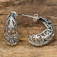 Sterling silver half hoop earrings, 'Floral Fantasy' - Artisan Crafted Openwork Sterling Silver Half Hoop Earrings