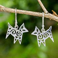 Sterling silver dangle earrings, 'Chic Cat' - Thai Handcrafted Openwork Sterling Silver Stylized Earrings